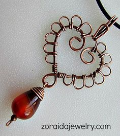 Wired Copper Heart with Carnelian Drop Pendant Handmade Wire Jewelry, Wire Wrapped Jewelry, Metal Jewelry, Pendant Jewelry, Gypsy Jewelry, Heart Jewelry, Diamond Jewelry, Do It Yourself Jewelry, Jewelry Stores Near Me