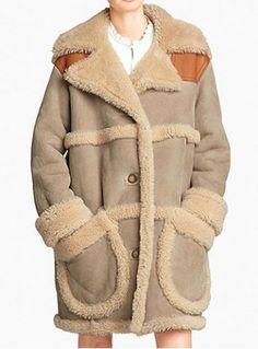Fashionable Turn-Down Collar Faux Suede Spliced Lambswool Long Sleeve Women's Coat