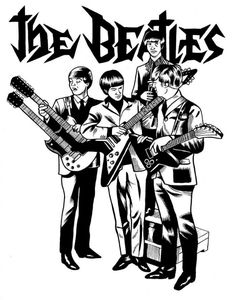 """""""The Beatles"""" by Sixo - France. Pop Rock, Rock And Roll, Jhon Lennon, Beatles Art, Aesthetic Drawing, Band Posters, Rock Legends, Coloring Book Pages, Silhouette"""