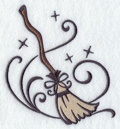 Halloween Glam Witch Broom Embroidered by EmbroideryEverywhere Heidnisches Tattoo, Pagan Tattoo, Witch Tattoo, Wiccan Tattoos, Witchcraft Tattoos, Love Tattoos, Body Art Tattoos, New Tattoos, Tribal Tattoos