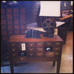 Vintage Oak Card Catalog. Great Wine Holder or Mini Bar. 38.5h x 17d x 30h $1200. Restored with Love at State Street Salvage