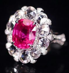 #unheatedruby #rubygorgeous #mozambique #ruby #ring #ct7+ct Ruby,Gorgeous Ring Diamond Cluster Engagement Ring, Halo Diamond, White Gold Wedding Rings, White Gold Rings, Pink Sapphire, Sapphire Rings, Ruby Rings, High Jewelry, Silver Jewelry