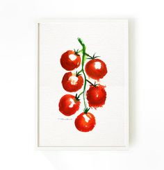 kitchen art, Tomato watercolor painting, Vegetable Art, Fruit artwork, Kitchen wall art, Home decor, Red Cherry tomatos 5x7 Buy 2 Get 1 Free on Etsy, $12.00