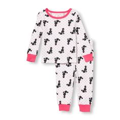 s Baby And Toddler Long Sleeve Poodle Dot Print Top And Pants Pj Set - White - The Children's Place