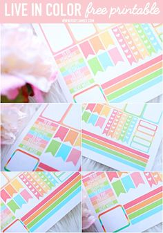Free Printable Live in Color Planner Stickers - Roxy James