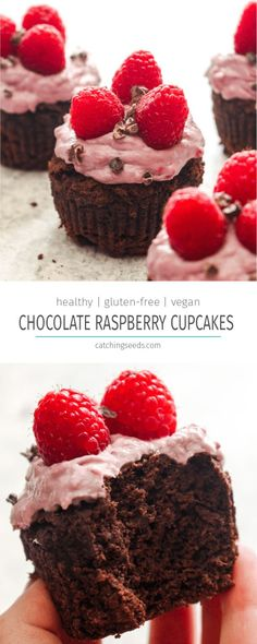 These Healthy Chocolate Raspberry Cupcakes are a valentine's day dream come true! Rich gluten-free vegan chocolate cupcakes are smothered in a frosting recipe made from fresh raspberries. The perfect fruity and chocolaty dessert! | CatchingSeeds.com