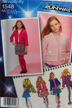 Simplicity 1548 Girls'/Girl's Plus Jacket with Trim Variations and Knit Top and Mini Skirt