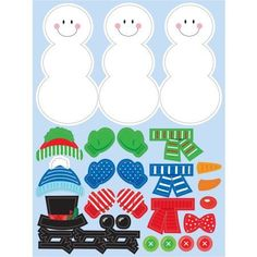 Build A Snowman Stickers, 4 pack, Multicolor