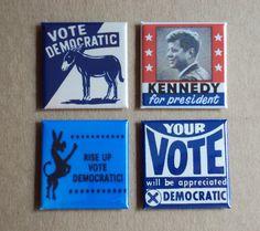 Vote Democratic Fridge Magnet Set. $8.50, via Etsy.