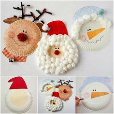DIY paper plate Christmas character --- so easy !  Check tutoiral--> http://wonderfuldiy.com/wonderful-diy-christmas-santa-rudolph-and-snowman-using-paper-plate/ #diy #crafts