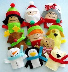 Felt Christmas Finger Puppets Sewing Pattern - PDF ePATTERN finger sets of non-woven Felt Puppets, Felt Finger Puppets, Hand Puppets, Puppet Patterns, Felt Patterns, Craft Patterns, Easy Patterns, Felt Christmas Ornaments, Christmas Crafts
