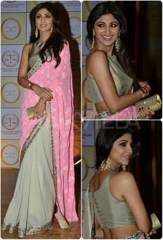 Shilpa Shetty in Manish Malhotra: YaY or NaY? Shilpa Shetty wore a Manish Malhotra saree to the launch of her jewellery line, Satyug Gold. She teamed it up with heavy jewellery and carried a shimmery clutch along. Bollywood Saree, Indian Bollywood, Bollywood Fashion, Bollywood Actress, Ethnic Sarees, Indian Sarees, Indian Attire, Indian Wear, Indian Dresses