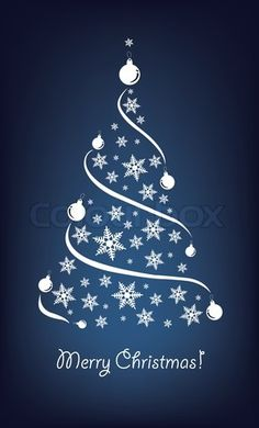 Stock vector of 'Abstract Christmas tree on the blue background. Vector illustration.'