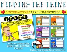 Interactive Posters for Teaching Theme in Picture Books. First Grade and Kindergarten Anchor Chart…a great classroom visual. $