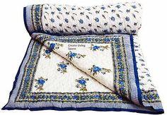Floral & Leafy Design Jaipuri Hand Block Print Reversible Double Bed Quilt