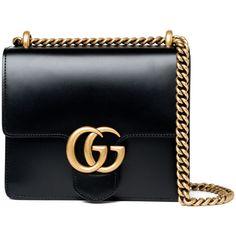 Gucci Small Marmont Bag - Black (5.800 BRL) ❤ liked on Polyvore featuring bags, handbags, shoulder bags, bolsas, gucci, purses, kirna zabete, man shoulder bag, chain shoulder bag and handbag purse