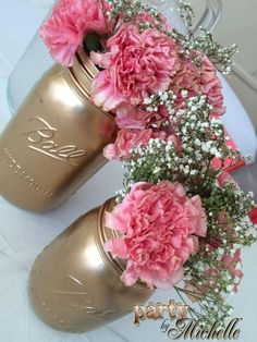 Princess baby shower party mason jar flowers! See more party planning ideas at http://CatchMyParty.com!