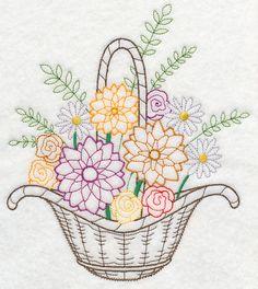 Blooming August Basket (Vintage) design (K7812) from www.Emblibrary.com