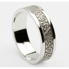 Embossed trinity knot ring with heavy trim You are in the right place about irish wedding rings sets Irish Wedding Rings, Celtic Wedding Bands, Sterling Silver Wedding Rings, White Gold Wedding Bands, Blue Wedding, Black Onyx Ring, Black Rings, Schwarzer Onyx Ring, Celtic Rings