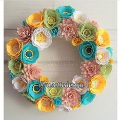 This beautiful wreath is perfect for all season as a gift or home decor. Each felt flower is hand cut and made with great care and love. It measure approximately 32 cm and if requested I can make it bigger or smaller. Unless I mention, All products are made to order, so there would