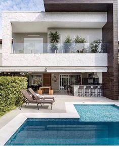 gorgeous backyard pool ideas with inground landscaping design 22 House, Modern House Design, Modern House, House Exterior, House Plans, Exterior Design, New Homes, Modern House Exterior, House Designs Exterior