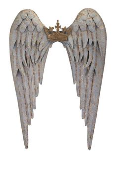 "This Paris-inspired metal wall decor features a pair of gold tipped angel wings with gold crown center detail. Product Description • Product Dimensions: 38"" H x 26.5"" W x 2.75"" D • Product Re-Shipper"