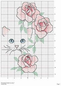 Cross-stitch Cat with Flowers.. no color chart available, just use the colors on pattern chart as your guide.    Gallery.ru / Фото #3 - 31 - Olsha