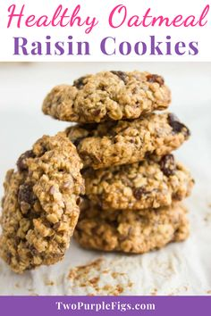 If you're looking for a healthy oatmeal raisin cookies recipe, this one is a winner. It has all the flavors you crave, but not the fat. It's a chewy and puffy cookie studded with oats, raisins and flax seeds for extra fibre and omega 3. #raisincookies #cookies #oatmeal #oatmealcookies #easyrecipe | twopurplefigs.com @twopurplefigs