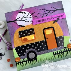 Halloween Cards, Happy Halloween, Halloween Decorations, Camper Lights, Holiday Cards, Christmas Cards, Camping Cards, Honey Bee Stamps, Bee Cards
