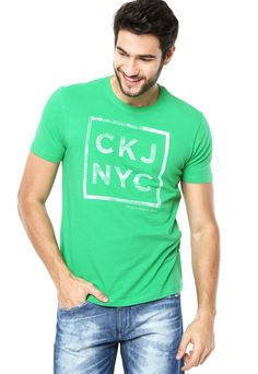 e1ade4b0bf35a Camiseta Calvin Klein Jeans Opposition Verde