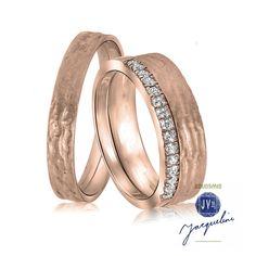 'Set rosé gouden trouwringen met diamant