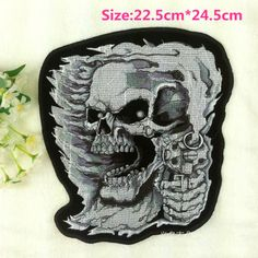 Free shipping new big size skeleton embroidered Iron On Patches Skull garment bag badge Appliques diy accessory biker patch A066 #Affiliate