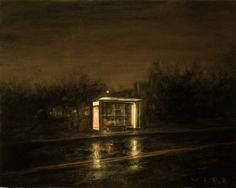 Dan Witz | Nightscapes:  Bus shelter 1. 2008 22x28 oil and mixed media on canvas