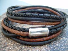 Mens Triple enveloppe cuir Bracelet avec fermoir magnétique, Bracelet Mens, Mens bijoux d'acier inoxydable on Etsy, 21,84€