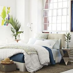 Leather Grid-Tufted Headboard #westelm (For Paul: like the headboard with this style of platform bed)