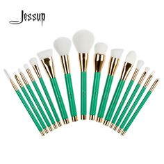 Jessup 15Pcs Professional Make up Brushes Set Foundation Blusher Powder Eyeshadow Blending Eyebrow Makeup Brushes Green/White