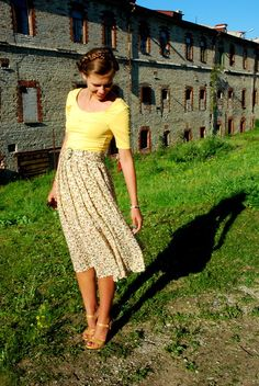 midi skirt. bright top.
