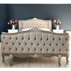 Welcome to the French Bedroom Company, award winning French furniture boutique. Explore our inspiring range of French beds and luxury bedroom furniture. Dark Blue Walls, French Armoire, Superking Bed, French Bed, Upholstered Beds, French Furniture, Bed Styling, Bedroom Furniture, Kitchen Furniture