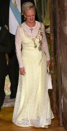 Denmark Royal Family, Danish Royal Family, Balmain Designer, Queen Margrethe Ii, Danish Royalty, Royal Look, Evening Dresses, Colour Yellow, Diana