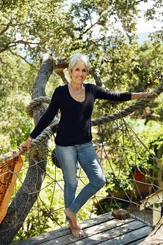 Joan Baez photographed for Observer Magazine in the treehouse at her home in California