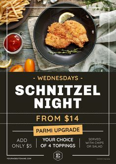 restaurant poster Schnitzel Night Poster with top view of food Food Graphic Design, Food Menu Design, Food Poster Design, Design Posters, Restaurant Promotions, Restaurant Poster, Restaurant Identity, Restaurant Restaurant, Greek Recipes