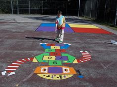 Fit and Fun Playscapes - Robot Hopscotch Outdoor Playground Stencil Bronze Award, School Murals, Sensory Garden, Chalk It Up, Outdoor Playground, Preschool Games, Hopscotch, Outdoor Games, Playroom