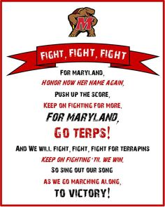 A free #UMD fight song printable I made    #Maryland #Terps