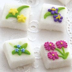 Sugar Cubes decorated with Spring flowers