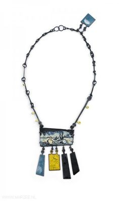 Tabea Reulecke - Nordlichter, necklace, 2010, silver, enamel on copper, gold 585