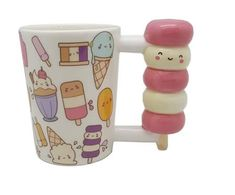 Cute cartoon ice cream smiley mug Unique Coffee Mugs, Funny Coffee Mugs, Funny Mugs, Coffee Ice Cream, Cream Cups, Funny Birthday Gifts, Novelty Mugs, Coffee Drinkers, Perfect Cup
