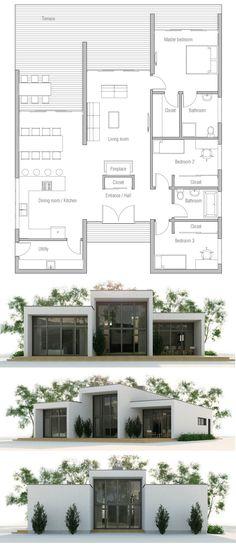 Projet de Maison Map of House, House, Architecture - Sims 4 House Plans, Dream House Plans, Small House Plans, House Floor Plans, Mediterranean House Plans, Home Design Floor Plans, House Blueprints, Facade House, Building Design