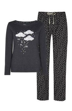 Primark - Pijama nuvem e estrelas cinzento carvão