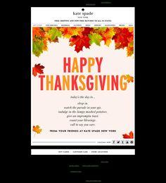 Kate Spade email marketing Thanksgiving card Nov 2013