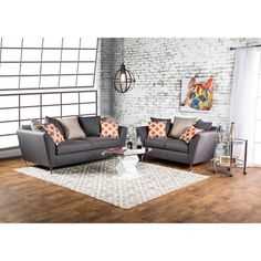 Furniture of America Waylee Contemporary 2-piece Grey Fabric Sofa Set